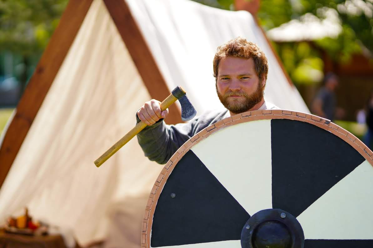 A viking at the viking camp